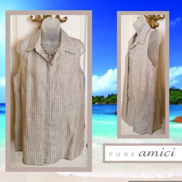 Pure Amici Tops - Linen Sleeveless Top AMICI Taupe & White